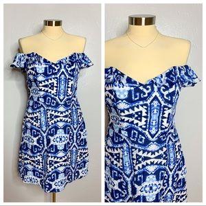 Alice & Trixie Blue Off Shoulder Silk Dress Sz S